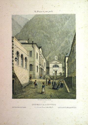 Eaux-Bonnes (Basses-Pyrénées) : L'établissement thermal et la chapelle_0