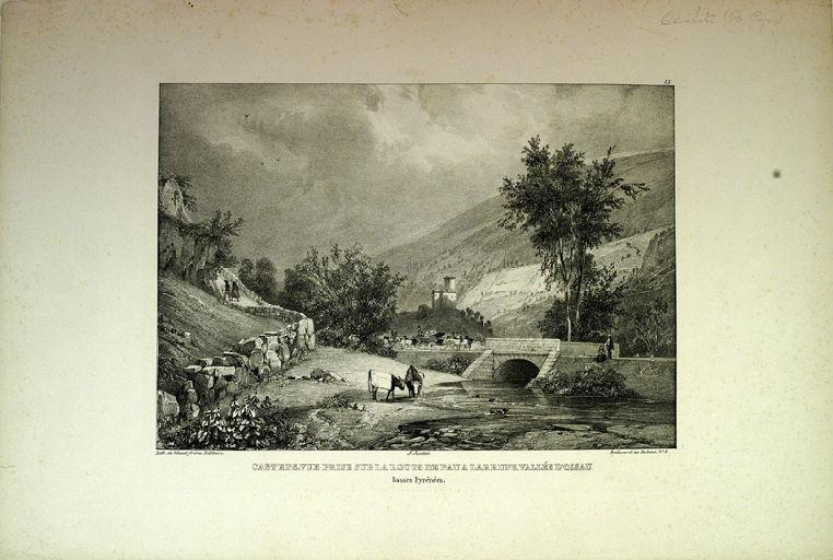 Castets, vue prise sur la route de Pau à Larruns, vallée d'Ossau_0