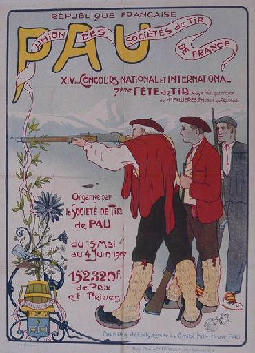Affiche du XIVè concours national et international de tir à Pau