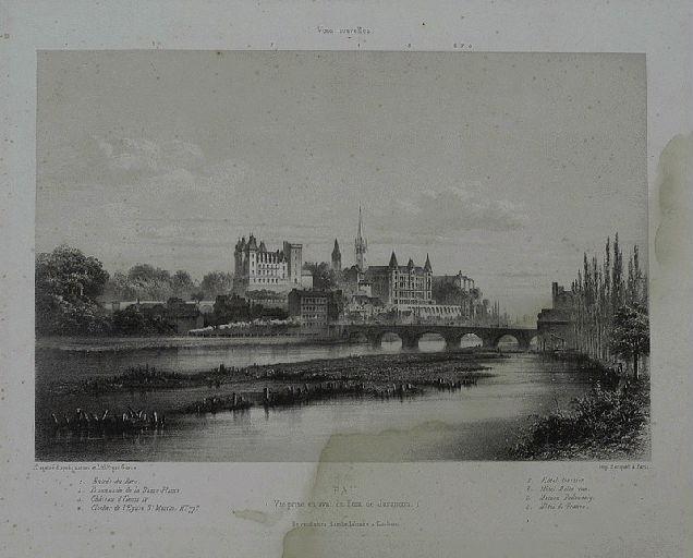 PAU (Vue prise en aval du Pont de Jurançon.)