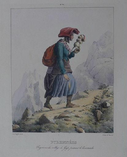 Pyrénées : paysanne du village de Grip, passant le Tourmalet._0