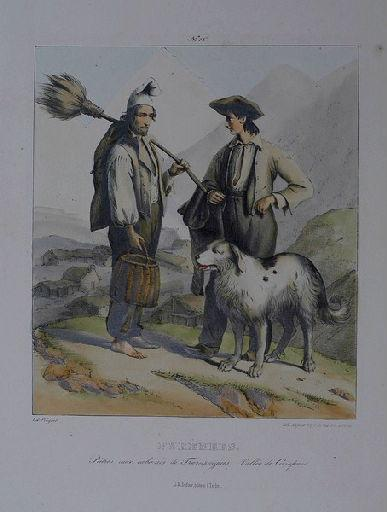 Pyrénées. Pâtres aux cabanes de Tramzaigues ; vallée de Campan._0