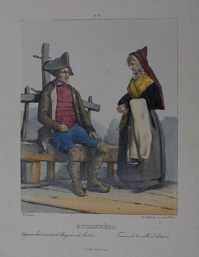 Pyrénées : Paysan des environs de Bagnère-de-Luchon, femme de la vallée de Louvon_0