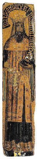 Roi tenant une épée et un phylactère