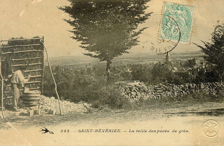 Saint-Réverien - La taille des pavés de grès