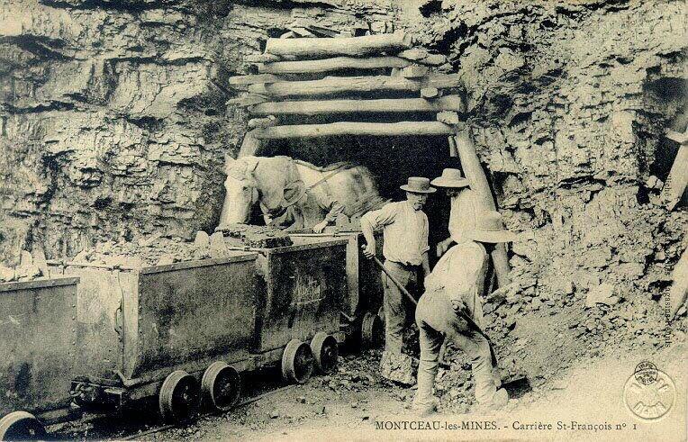 anonyme (photographe), MAISON DES MAGASINS REUNIS (éditeur), IMPRIMERIES REUNIES DE NANCY (imprimeur) : Montceau-les-Mines - carrière Saint-François n°1