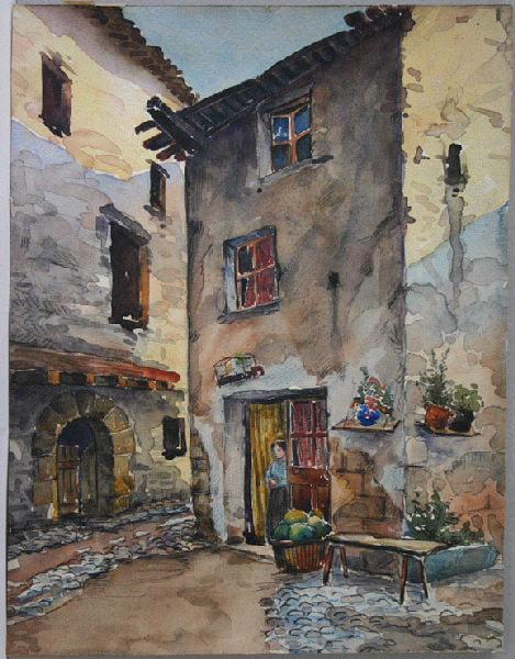 anonyme : Quartier villageois (femme figurée à l'entrée d'une maison)