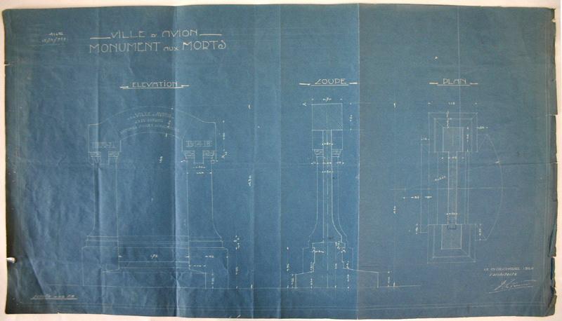 Plan et coupes du monument aux morts d'Avion