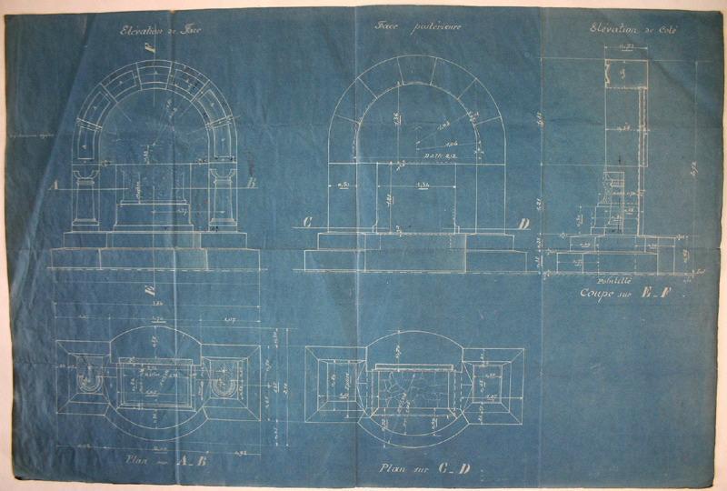 Plan et coupes pour le monument aux morts d'Issy-les-Moulineaux (une palme est esquissée au revers)_0