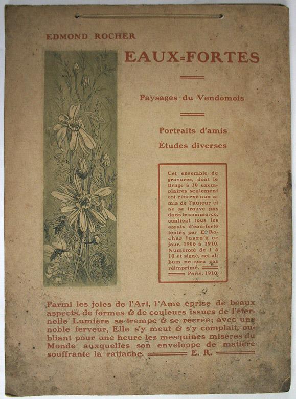 Album d'eaux-fortes par Edmond Rocher (paysages du Vendômois, portraits d'amis (dont celui d'Emile Fernand-Dubois) et études diverses)_0