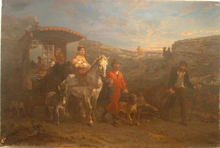 Saltimbanques en route (désignation du FNAC) ; Le départ des bohémiens (désignation du Conservateur de l'époque inscrite sur le registre des inventaires )_0