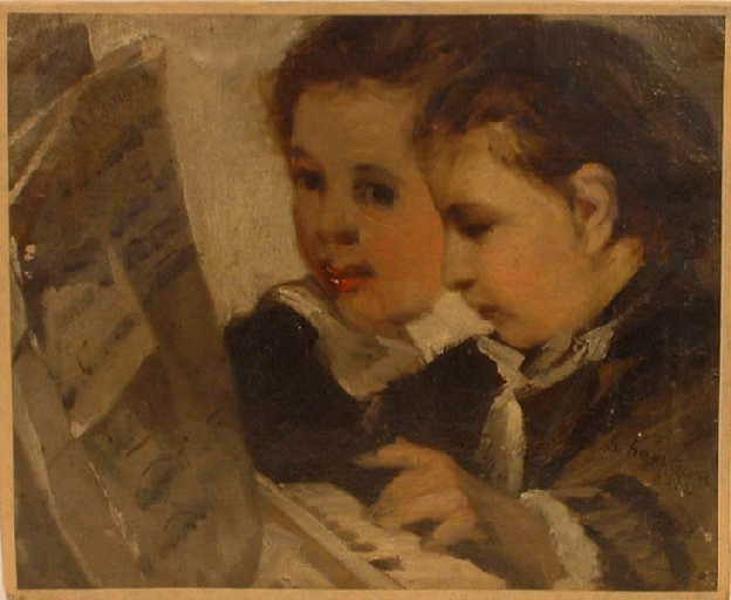 Deux têtes d'enfant ;  Deux têtes d'enfant lisant (autre titre) ; La leçon de piano (autre titre)_0