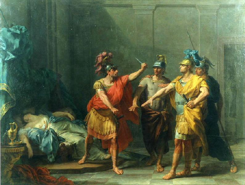 Le Serment de Brutus ; La mort de Lucrèce (autre titre) ; Brutus, Lucretius Père de Lucrèce, & Collatinus son Mari, jurent sur le poignard dont elle s'est tuée, de venger sa mort & de chasser les Tarquins de Rome (autre titre)_0