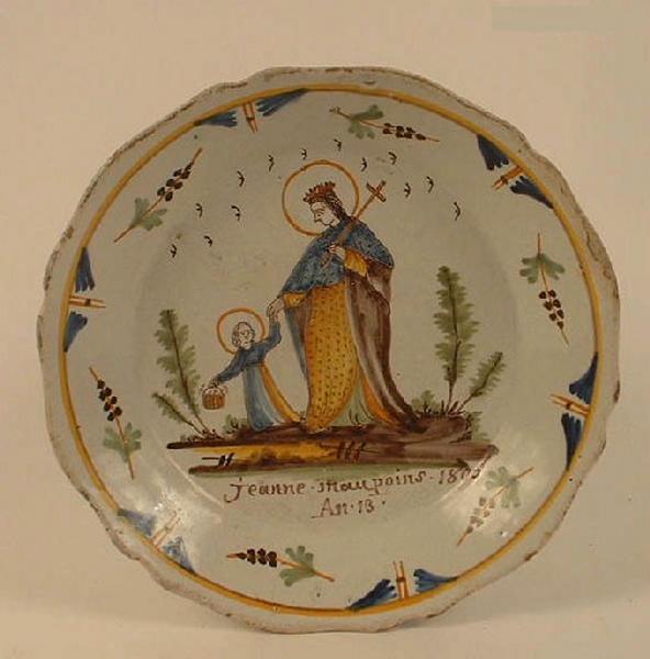 Sainte Jeanne tenant par la main une petite fille auréolée