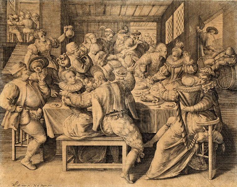 VOS Martin de (d'après, peintre), BRUYN Nicolaes de (graveur) : Intérieur d'une maison de Joie