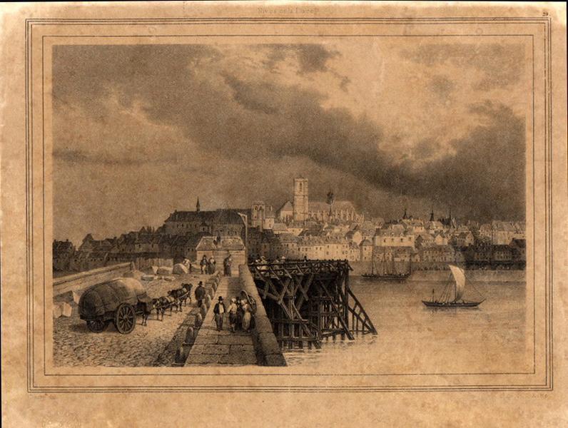 DEROY Isidore Laurent (d'après, peintre), MOTTE Charles Etienne Pierre (lithographe) : Le pont de Loire à Nevers