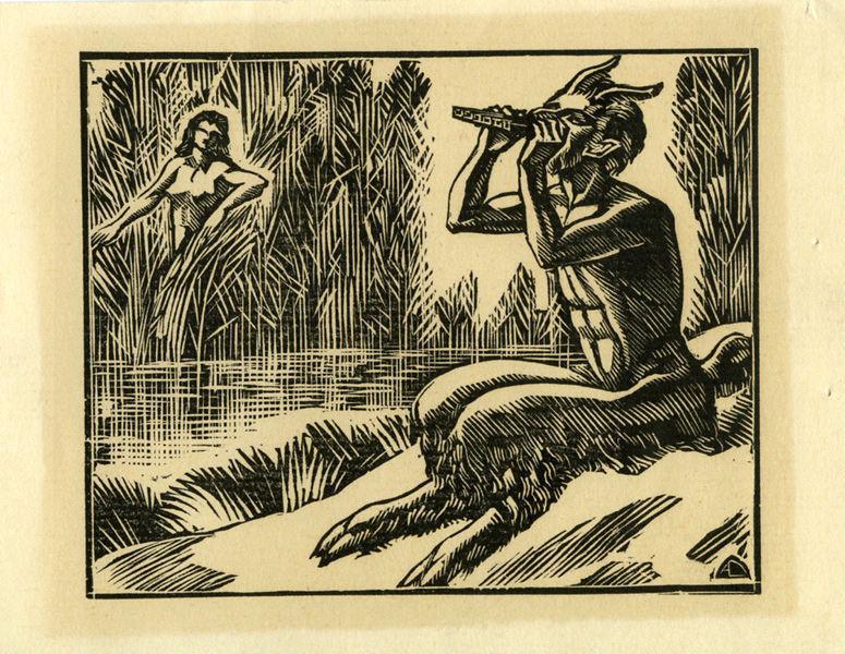 DESLIGNERES André (graveur) : Pan et la nymphe Syrinx
