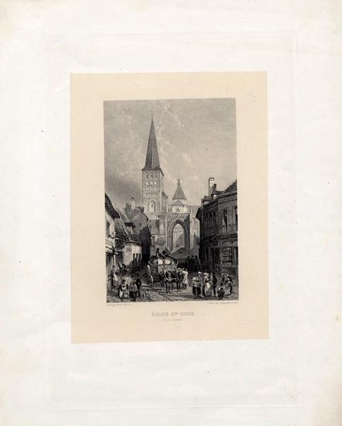 ROUARGUE Adolphe (graveur, lithographe), ROUARGUE Emile (dessinateur, graveur), DIEN P (imprimeur) : Eglise Ste-Croix