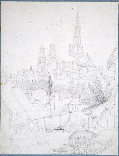 La cathédrale d'Autun vue du faubourg Talus_0