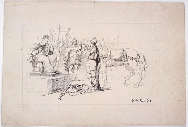 Chef gaulois (Vercingétorix) déposant les armes devant un romain (César)