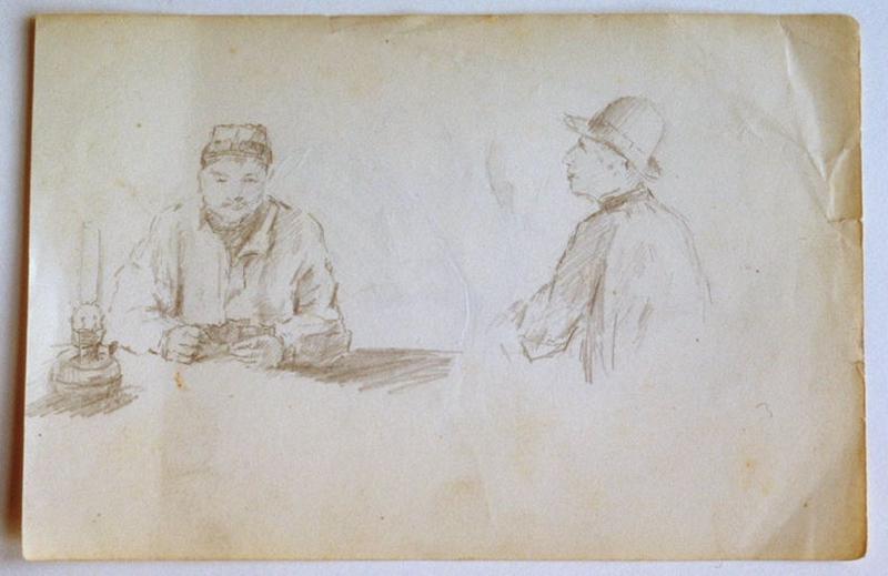 Joueur de cartes à la lampe à pétrole (recto) ; Etude de selle de cheval (verso)