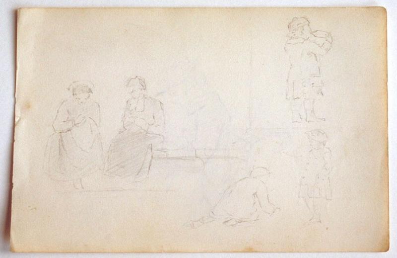 Femme cousant sur un banc ; esquisse de couseuses et d'enfants_0