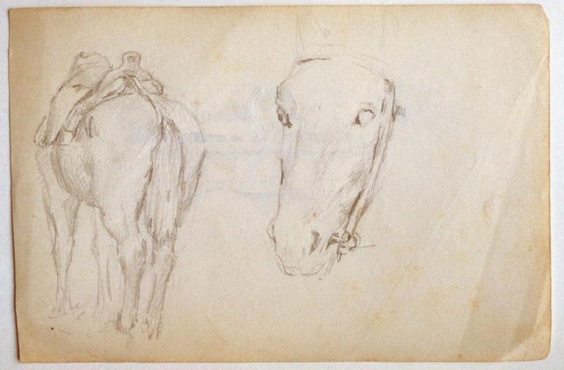 Etude : deux hommes somnolants (recto) ; Etudes de cheval : tête et croupe (verso)