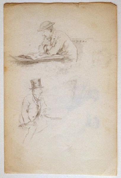 Etudes : deux hommes portants chapeaux (recto) ; Etudes : deux hommes barbus (modèles) en habits romains (verso)