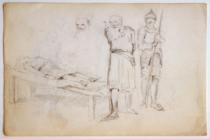 Scène historique : personnages autour d'un mort (recto) ; Scène historique : personnages autour d'un mort (verso)_0