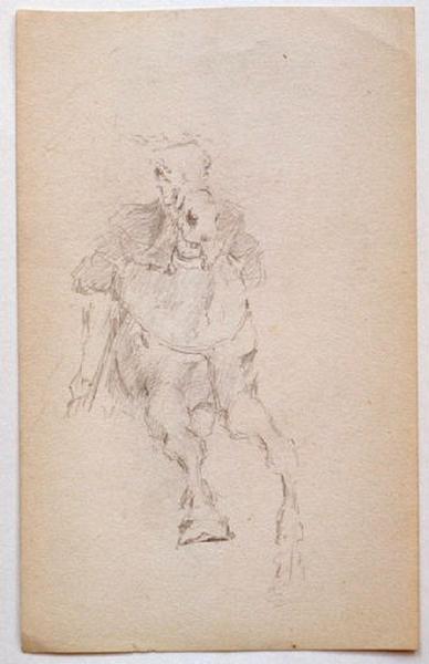 Etude de cheval au galop (recto) ; soldat en pied au repos (verso)