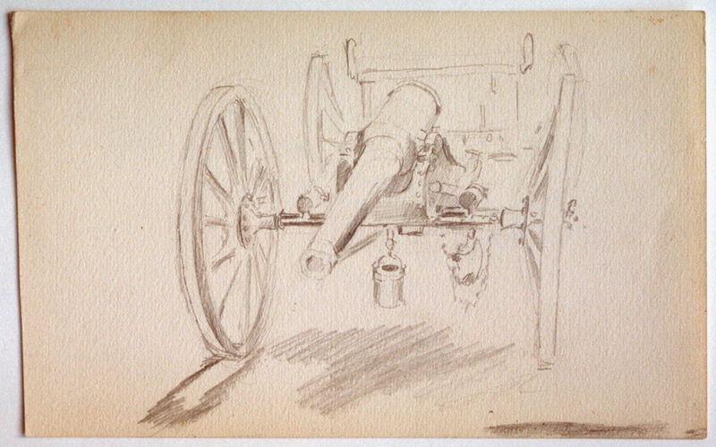 Canon d'artillerie (recto) ; Etude : patte arrière gauche de cheval (verso)_0