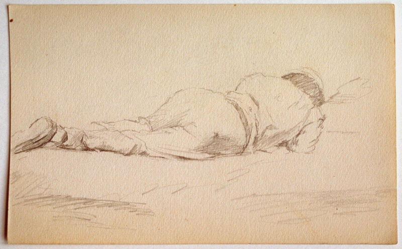 Homme endormis sur le ventre (recto) ; Etude : croupe d'un cheval (verso)_0