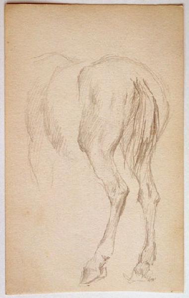 Homme endormis sur le ventre (recto) ; Etude : croupe d'un cheval (verso)