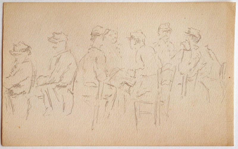 Etude : 7 soldats assis (recto) ; Esquisse : une jambe et un visage masculin (verso)_0