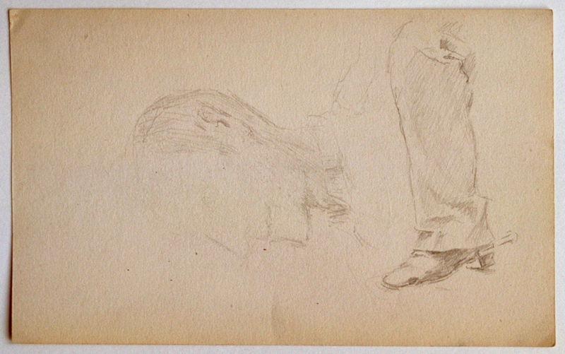 Etude : 7 soldats assis (recto) ; Esquisse : une jambe et un visage masculin (verso)