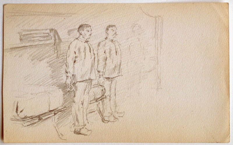 Deux soldats en chambrée au garde à vous_0