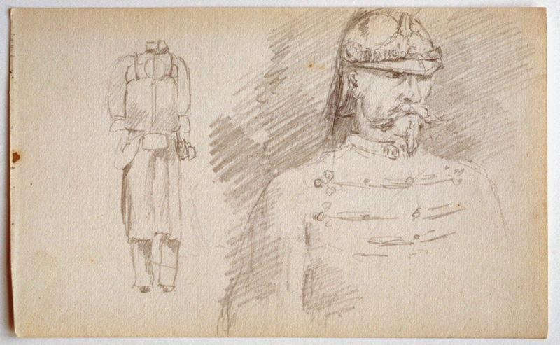 Soldat en pied sans tête ; Une étude de militaire en buste ; deux soldats campés à l'entrée d'une caserne_0