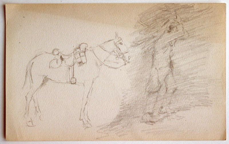 Deux études : cheval et soldat_0