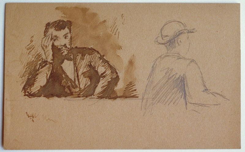 Deux bustes d'hommes (recto) ; esquisse : homme allongé (verso)