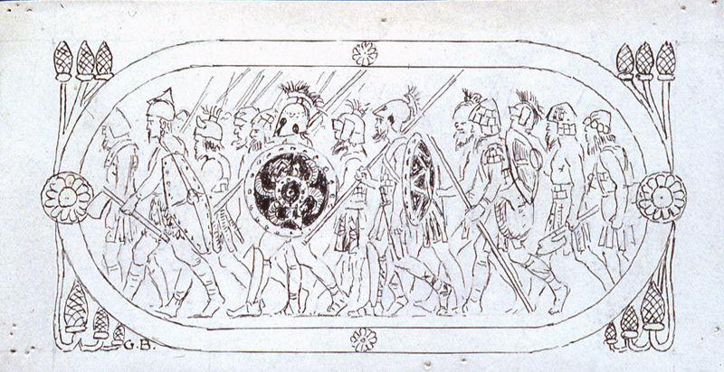 Salammbô, Bandeau de tête de chapitre - Cartouche avec frise de guerriers_0