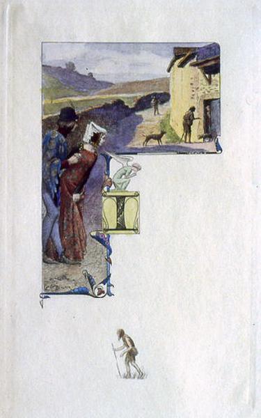 Saint Julien l'Hospitalier, chapitre 03 - Il s'en alla, mendiant sa vie (Tête de chapitre et lettrine ; tirage couleur)_0