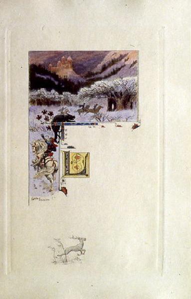 Saint Julien l'Hospitalier, chapitre 01 - Le père et la mère de Julien habitaient un château (Tête de chapitre et lettrine ; tirage couleur)_0