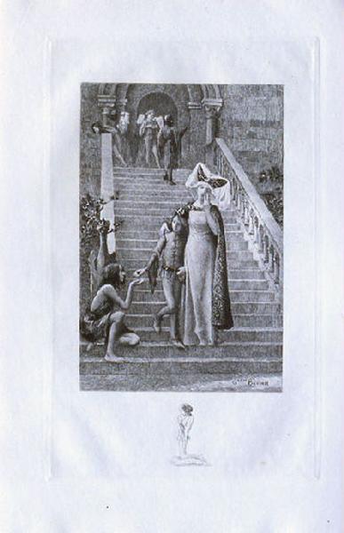 Saint Julien l'Hospitalier, chapitre 01 - Frontispice, Quand il passait entre les pauvres inclinés (tirage noir)_0