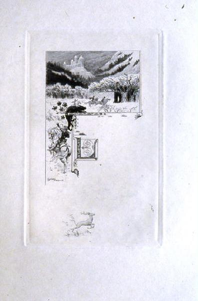Saint Julien l'Hospitalier, chapitre 01 - Le père et la mère de Julien habitaient un château (Tête de chapitre et lettrine ; tirage noir)_0