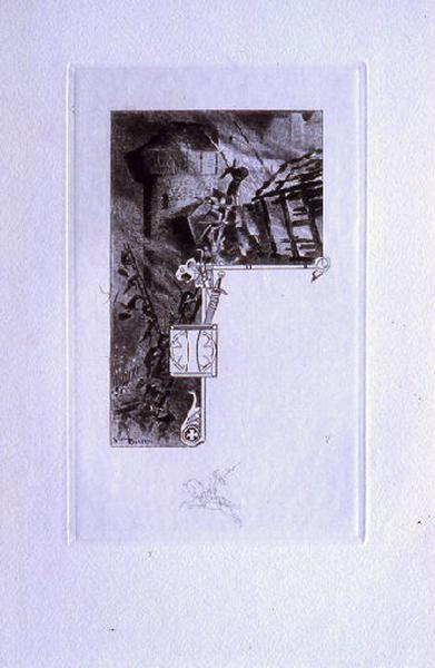 Saint Julien l'Hospitalier, chapitre 02 - Il s'engageait dans une troupe d'aventuriers (Tête de chapitre et lettrine ; tirage noir)_0