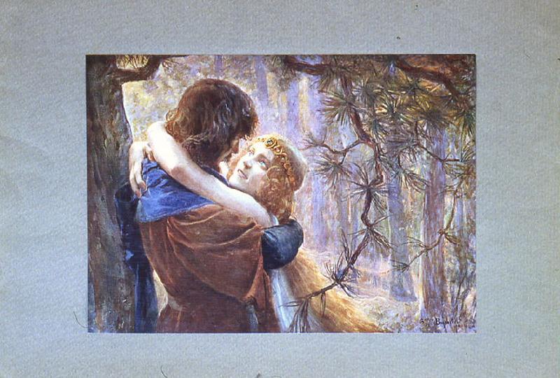 Tristan et Isolde ; Yseult en forêt (reproduction en couleurs)_0