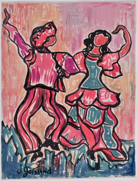 Danse traditionnelle (recto) ; Vue des ponts sur la Seine (verso)_0