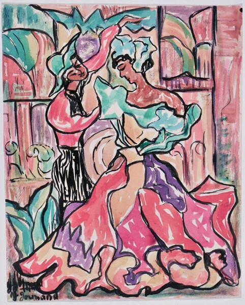 Couple de danseurs dans un décor architecturé (recto)_0