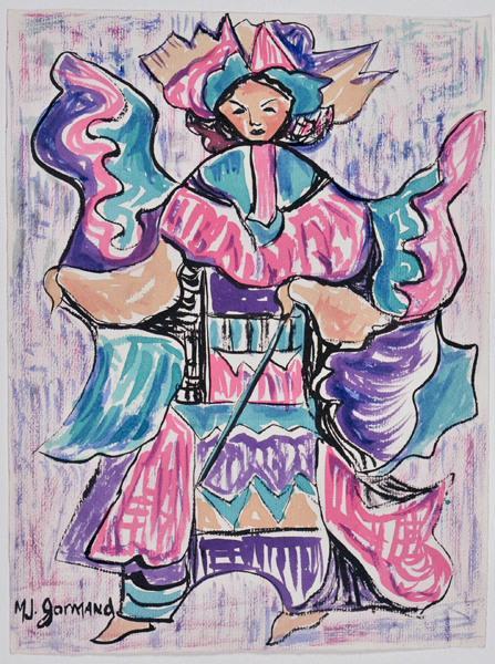 Femme asiatique en costume traditionnel_0