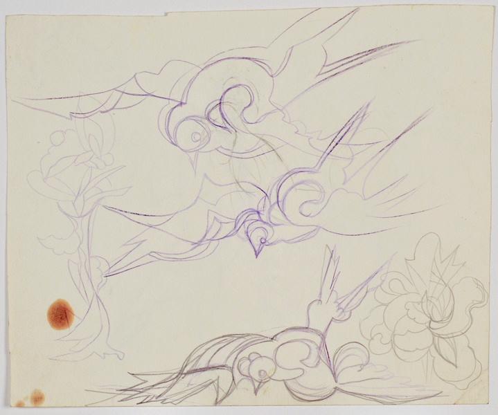 Vol de colombe, fleur fantastique et nuées (recto) ; Colombes, coq et fleurs fantastiques (verso)_0